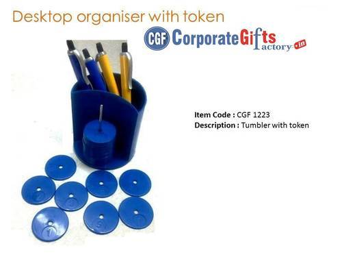 Minura Blue Pen Stand With Token Holder
