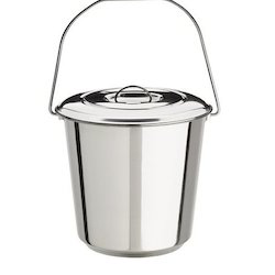 Stainless Steel Silver Color Bucket With Lid