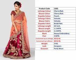 photo in details Semi-Stitched Exclusive Wedding Designer Bridal Lehenga Choli, Net