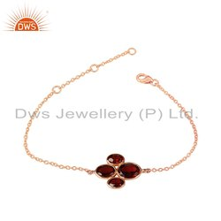 Rose Gold Plated 925 Silver Garnet Gemstone Chain Bracelet