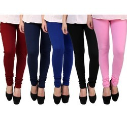 Plain Ladies Colored Cotton Lycra Leggings, Size: Small And XXL