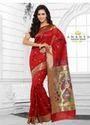 Dark Red Cotton Silk Saree With Grey Blouse AFS113-1