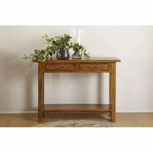 Wooden Rectangular Modern Brown Console Table