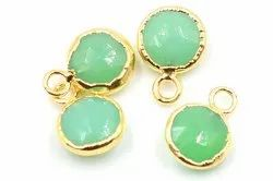 Green Chalcedony Round Shape Gold Plated Pendant
