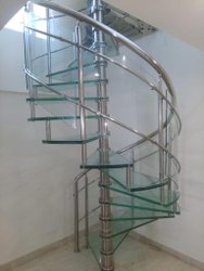 Fully Glass Spiral Staircase