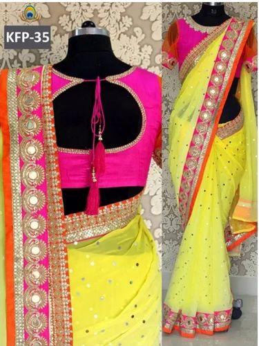 dedb744ea79781 Kaavifab Georgette New Georgette Yellow   Pink Designer Saree