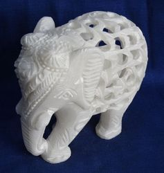 White Marble Jaali Elephant Sculpture For Gift