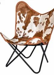 Leather Hairon Butterfly Chair, Size: 18x16