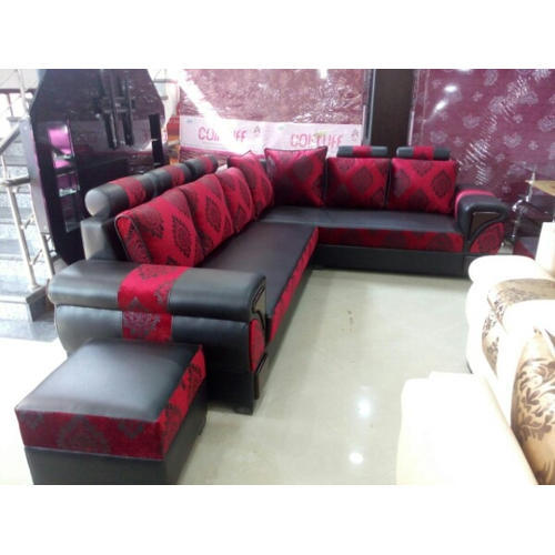 7 Seater L Shape Modern Red Sofa Set, Rs 32500 /set, Jay Jalaram ...