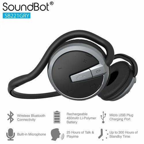 056726572b7 Black/Grey SoundBot SB221 Wireless Bluetooth Headset With Mic, Rs ...