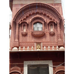 Standard Agra Red Stone Jharokha, Size: 6'x8'