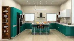 Wooden U Shape Modular Kitchen Interior, Warranty: 10-15 Years