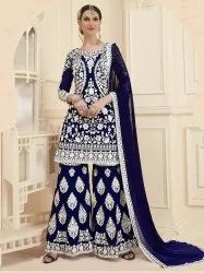 Blue Georgette Embroidery Party Palazzo Salwar Kameez