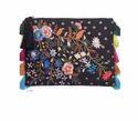Black Floral Embroidered Ziptop Bag