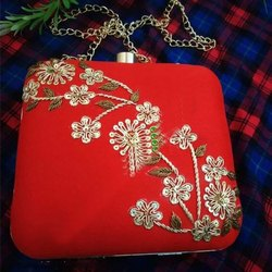 Red Handcrafted Party Clutch With Flower Embroidered