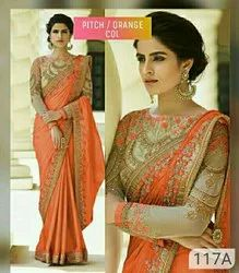 Orange Party Wear Silk Embroidery Saree, Hand Made, 6.3 M (with Blouse Piece)