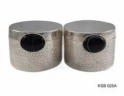 Pure Silver Designer Cookie Box (Black Agate Accent)