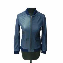 Blue Ladies Stylish Leather Jacket