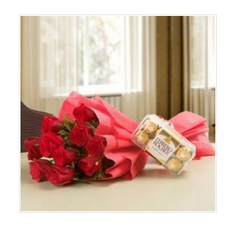 12 Red Roses And 16 Pcs Ferrero Rocher Chocolate