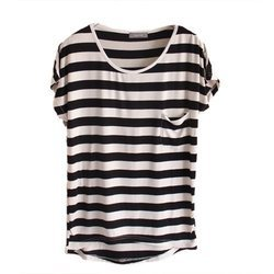 Half Sleeve Round Ladies Casual T-Shirt, Size: Small