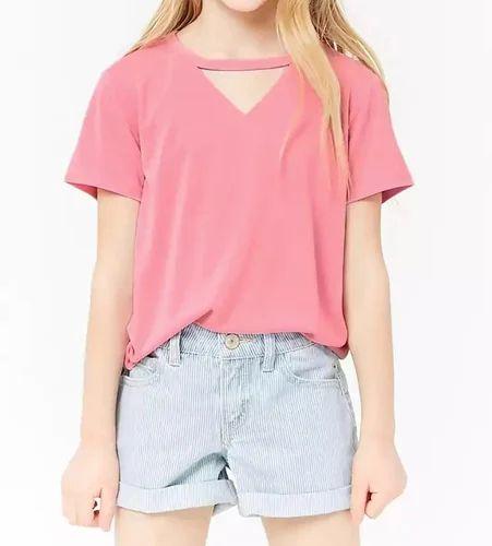Girl Kids V Cut Out T Shirt