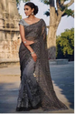 Grey Net Saree With Pure Silk Blouse
