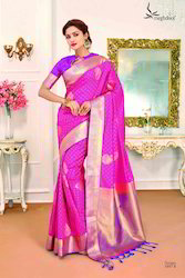 Pink And Blue Colour Art Silk Women Saree