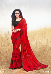 44d714209f8 Red Georgette Printed Party Wear Saree