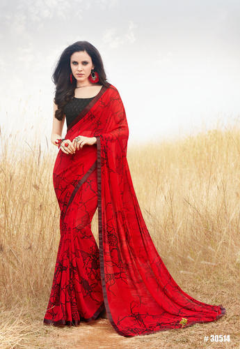 3caef2c239 Red Georgette Printed Party Wear Saree