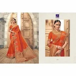 Orange Embroidered Festive Wear Silk Weaving Sarees, Packaging Type: Box