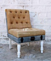 Resort Accent Chair - Vintage Slipper Sofa (Single Seater), Hotel Seating, Recycled Fabric Armchairs