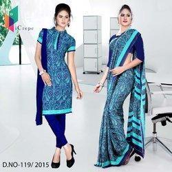 Blue with Sky Blue Border Italian Crepe Uniform Saree Salwar Combo
