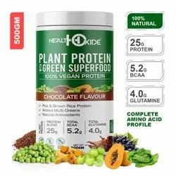 Health Oxide 25g Vegan Plant Protein,  (Natural Chocolate Flavor), 500gm