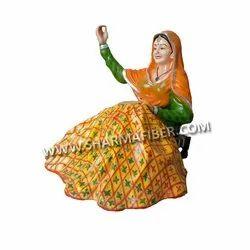 Punjabi Traditional Phulkari Lady Fiber Statue