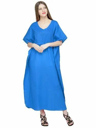 a8b4617fdd7 Skavij Womens Caftan Soft Beach Cover Up Long Kaftan Embroidered Cotton Maxi  Dress - Turquoise