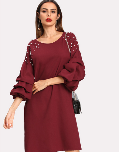 899a789001 Shein Pearl Beaded Gathered Sleeve Dress - High Frill, Visakhapatnam ...