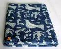 Indian Animal Print Hand Block Blue Cotton Fabric
