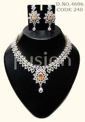 American Diamond Lct Stone Necklace Set