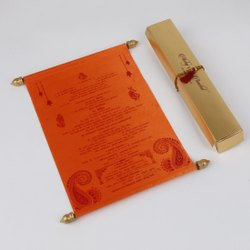 Fabric Royal Scroll Wedding Invitation Card in Orange Satin