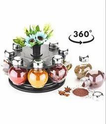 360 Degree Revolving Round Shape Transparent Spice Rack Pack of 8 For Kitchen Storage