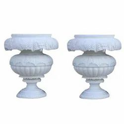 White Marble Carving Planter