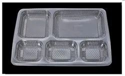Disposable 5 Compartment Plastic Meal Tray For Food Takeaway