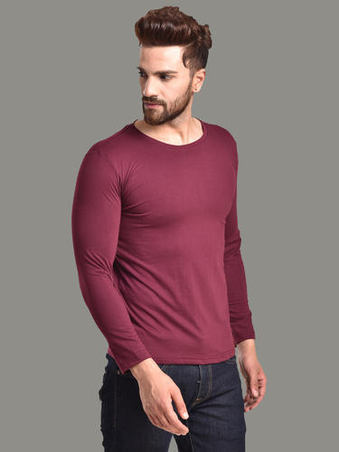 11054311bcf9 Muse Men' s Casual Cotton Wine Red T-Shirt Full Sleeve Round Neck Slim