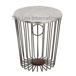Decorative Iron Metal and marble table accent