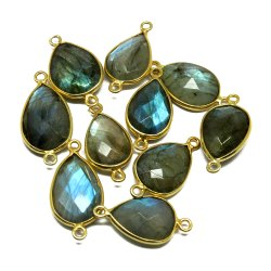 Labradorite Gemstone Gold Plated Bezel Double Bail Connectors