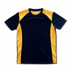 Half sleeves Black and Yellow Mens Polyester Sports Jersey, Size: S-XXL