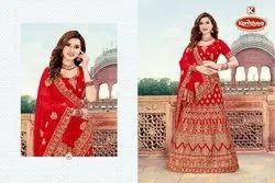 Dyed Georgette Heavy Embroidery & Diamond work Lehenga Saree - Snehanjali