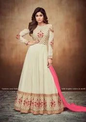 Shamita Shetty Ivory Embroidered Anarkali Suit