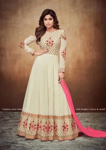 b9c73225a7 Georgette Shamita Shetty Ivory Embroidered Anarkali Suit, Rs 2688 ...