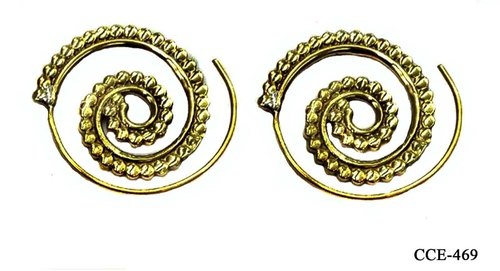 231948a8676d3 Unique Stylish Bold Brass Spiral Earrings - Craftcurioo Inc, Delhi ...